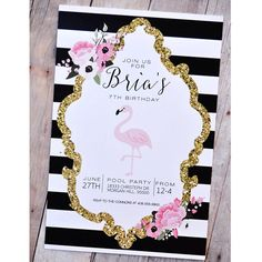 Invites for a modern Flamingo party. BY HOCDesigns Market