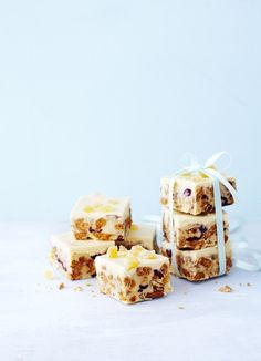 Cranberry and ginger tiffin: Make this simple, indulgent tiffin to treat someone - but try not to eat it yourself! You can swap the white chocolate for dark or milk – go for the recipient's favourite. The cranberry and ginger flavours really lift the buttery biscuit. Ready in only 30 minutes