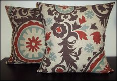 Colors of formal living room! Set of 2 Pillow Covers 18x18Free Shipping  Suzani by ginasewstuff, $32.00