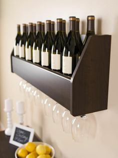 Prepac Espresso Wall-Mount Wine Rack at Lowe's. Display your finest bottles of wine and liquor with this clever floating wine rack. This wall mounted rack has a compact design to conserve space in your Wine Shelves, Bar Shelves, Glass Shelves, Wall Mount Rack, Palette, Wine And Liquor, Hanging Rail, Floating Wall, Up House