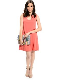 Coral Girl Meeting Cut Out Shift Dress | $10.00 | Cheap Trendy Casual Dresses Chic Discount Fashion
