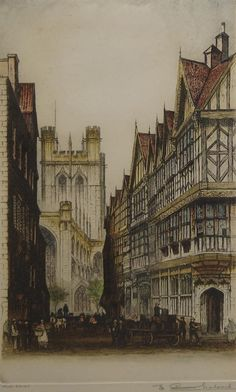 Edward W Sharland, British 1884-1967- ''Chester Cathedral''; etching printed in colours, signed and titled in pencil, 40x22.5cm: together with a collection of seven further 19th century and later prints, by and after various hands, depicting various scenes, various scenes, (part unframed), (may be subject to Droit de Suite) (8) - Price Estimate: £100 - £150
