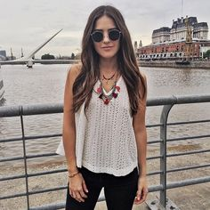 """Walking around Puerto Madero. // Loving my new @rapsodiaoficial necklaces. #buenosaires #ootd ----- Caminando por Puerto Madero, con mis nuevos collares…"""