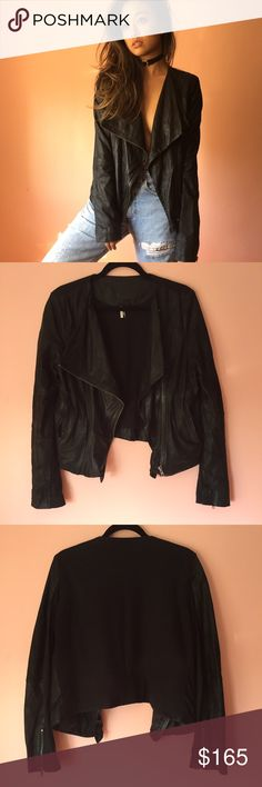 TopShop Genuine Leather Motorcycle Jacket Get instant chill in this genuine leather and 100% cotton motorcycle jacket. Features a relaxed lapel, zip front, fitted long sleeves, front and cuff zips, tonal black cotton back to keep things cool. Wear everyday. MSRP $350. Fits a bit small. Marked US 10. No returns allowed. Please ask all questions before buying. IG: [at] jacqueline.pak #topshop Topshop Jackets & Coats