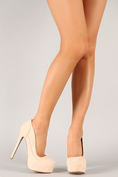 Show off your classic style in these chic platform pumps! Featuring smooth faux suede upper, almond toe, scooped vamp, hidden platform, wrapped heel, stitching detail, and finished with cushioned insole for comfort.