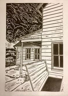 "Excited to share the latest addition to my #etsy shop: Linocut Print, ""Lawr Farmhouse, Port Oneida"" #art #printmaking #burntumber #michigan #gothic #farmhouse #leelanau #print #puremichigan #artist"