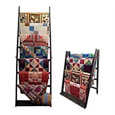25 organizing ideas for sewing room - The Little Mushroom Cap: A Quilting Blog Black Furniture, Accent Furniture, Kids Furniture, Quilt Display, Wood Display, Ikea Raskog Trolley, Quilt Racks, Quilt Ladder