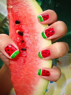 Watermelon nails-love these. I don't know why people do watermelons in pink. MUCH better in red.
