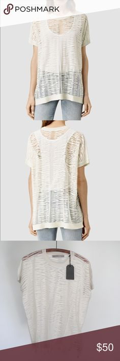 NWT all saints Brand-new never worn with tag sheared knit shirt. Luxurious feel super comfy. Would also work for a small and a medium All Saints Tops