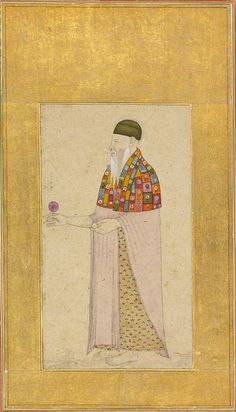 Portrait of the Sufi mystic Shah Daula. Brush drawing with washes and opaque pigments. Mughal Miniature Paintings, Mughal Paintings, Islamic Paintings, Sufi Saints, Brush Drawing, Islamic Art, Indian Art, Vintage World Maps, Sacre