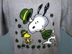 Peanuts Snoopy and Woodstock Gray XL T-Shirt Irish Theme M&O Knits Cotton Blend #MOKNITS #GraphicTee