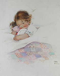 I always preferred stuffed animals to baby dolls when I was a child... but this pose is really sweet. :) <3 (Artist: Mabel Lucie Attwell.)