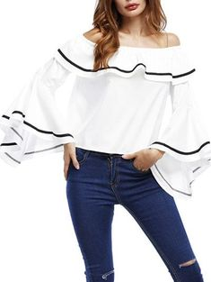 Off The Shoulder Bell Sleeve Ruffle Blouse