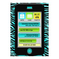 """Add your own celebration details to these fun and modern """"text message"""" party invitations!"""