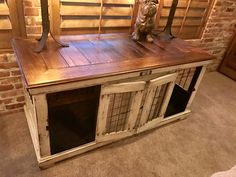 Urban farmhouse design. Double distressed painted dog kennel. Sherwin Williams antique white. Interior door that allows the space to remain open or be separated into two private spaces. Dog crate that functions as an entertainment center, tv stand, entry table...or mud room piece. Furniture for the dogs!