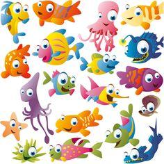 cute fishing cartoons | Funny cartoon fish vector | Vector Graphics & Vector Illustrations