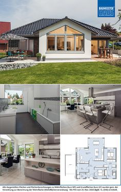Haus Riedel - a bungalow. That surprises with elegance. In terms of color, the approximately 120 Town House Plans, Small House Plans, House Floor Plans, Modern Bungalow House, Bungalow House Plans, Affordable House Plans, House With Porch, Small House Design, Home Design Plans