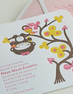 """""""Funky Monkey"""" letterpress birth announcement from Elum Designs. Customize  yours with Paper Passionista."""
