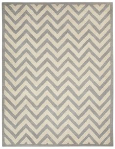 Charisma Silver / Ivory Chevron Area Rug