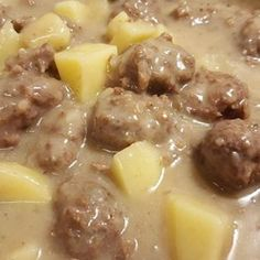 A hearty, old style stew is made with lots of pork meatballs and potatoes, simmered in a richly flavored gravy thickened with roasted flour. Canadian Cuisine, Canadian Food, Canadian Recipes, Canadian French, Italian Pasta Recipes, Mexican Food Recipes, French Recipes, Italian Desserts, Vietnamese Recipes
