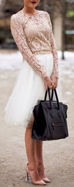 Dusty Rose Lace Blouse with matching Heels, and White Tulle Skirt - Pretty!