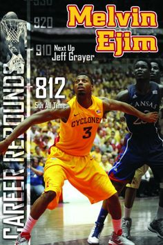 Iowa State Basketball graphic for Melvin Ejim moving up the career rebounding list