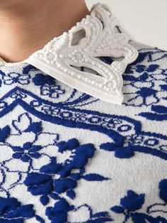 Valentino Embroidered Floral Dress in Blue