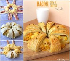 Bacon And Cheese Egg Wreath Recipe food breakfast delicious recipe food ideas recipes breakfast recipes tutorial party favors tutorials dessert recipes food tutorials food tutorial danish Quiche Recipes, Brunch Recipes, Breakfast Recipes, Dessert Recipes, Kraft Recipes, Desserts, Easter Recipes, Holiday Recipes, Smoothies