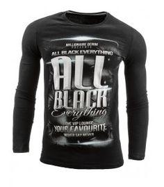 Čierne tričko s dlhými rukávmi