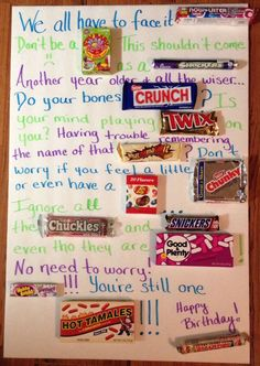 Candy bar birthday poster card - the winner.until we ran out of budget. Maybe the next birthday party! Homemade Birthday Gifts, Birthday Crafts, 60th Birthday, Birthday Ideas, Birthday Message, Birthday Wishes, Birthday Sayings, Birthday Board, Friend Birthday