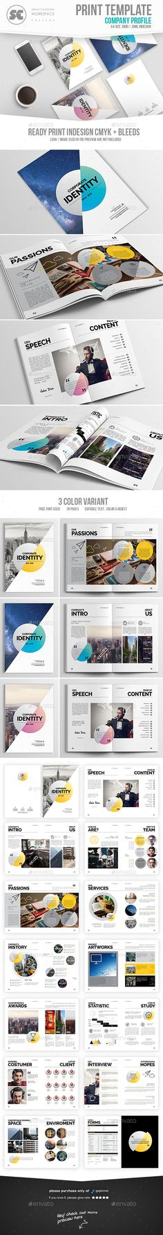 Clean Company Profile Brochure Template InDesign INDD #download - corporate profile template