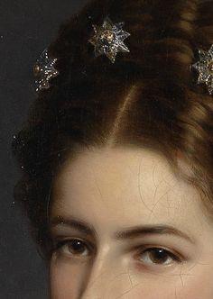 Stars in her💫hair ✨ franz xaver winterhalter (art peinture portrait couronne d´étoiles) stars crown detail painting Franz Xaver Winterhalter, Renaissance Kunst, Princess Aesthetic, Classic Paintings, Classical Art, Detail Art, Old Art, Art Plastique, Aesthetic Art