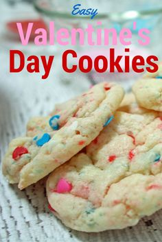 Easy Valentine's Day cookies using a cake mix and multicolored heart sprinkles.