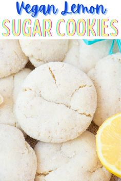 These easy vegan lemon cookies are perfectly flavor with a soft and chewy texture. Crinkled on top and rolled in a sugar coating. #vegancookierecipes #veganlemoncookies #veganlemoncookierecipe #vegansummerrecipes #veganlemonrecipes Healthy Vegan Desserts, Vegan Dessert Recipes, Vegan Recipes Easy, Cookie Recipes, Lemon Sugar Cookies, Lemon Recipes, Vegan Butter, No Bake Cookies, Vegan Baking