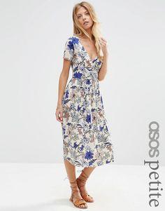 Image 1 ofASOS PETITE Wrap Midi Dress with Pleats in Floral Print