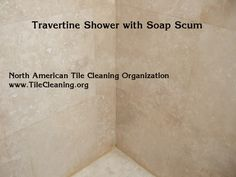 cleaning travertine shower with soap scum