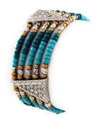 Silvertone Turquoise Beaded Stretch Bangle Bracelet $16.99