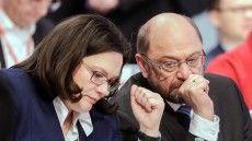 SPD- Größen: Andrea Nahles und Schulz auf dem SPD Parteitag - Jan 2018