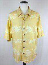 TOMMY BAHAMA Mens HAWAIIAN Yellow LINEN Button Up CAMP Shirt FLORAL XL *Nice!