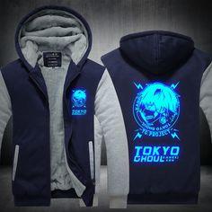 Tokyo Ghoul Luminous printed hot anime Tokyo Ghoul Hoodies Men long-sleeve Thicken Zipper Fleece coats Sweatshirts men Plus Size