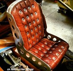 and a hole in the backrest for a ten inch sub woofer! Did I mention leather? It smells as good as it looks! I can't wait for trog! Custom Car Interior, Truck Interior, Hot Rods, Bomber Seats, Kart Cross, Aviation Decor, Aviation Furniture, Car Upholstery, Porsche 356