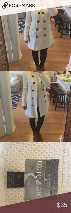 Mac & Jac Cream Coat with Oversized Black Buttons Mac & Jac cream double breasted coat with oversized black buttons. Midweight waffle weave material is adorable for fall, winter and spring. Like new! Mac & Jac Jackets & Coats Pea Coats