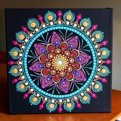 Vibrant colorful dot Mandala on stretched canvas 12 x image 0 Mandala Art Lesson, Mandala Artwork, Mandala Canvas, Mandala Drawing, Mandala Painting, Mandala Bleu, Mandala Rocks, Mandala Stencils, Dot Art Painting