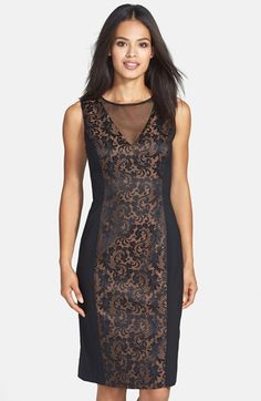 7b1184239046 Maggy London Mesh Inset Jacquard Sheath Dress available at  Nordstrom  Cruise Outfits
