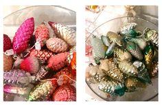 Shikasuki Vintage 1940 to 1960 Christmas Decoration Glass Pinecones.