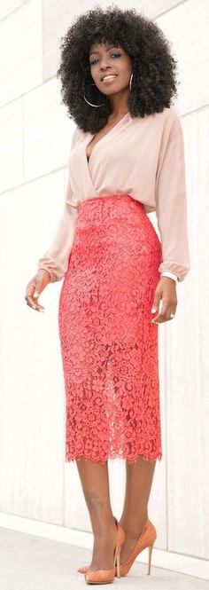 Blush Blouse + Coral Lace Pencil Midi Skirt | Style Pantry