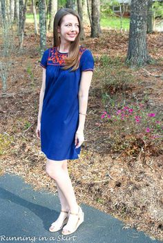 Navy Embroidery Dress from @oldnavy !  Cute everyday fashion ideas from Running in a Skirt.