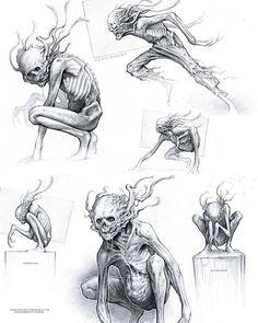 Zombie Pose, Zombie Art, Monster Concept Art, Monster Art, Weird Creatures, Fantasy Creatures, Dark Creatures, Arte Horror, Horror Art