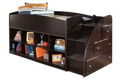 Dark Brown Embrace Loft Bookcase Bed with Right Steps by Ashley Furniture