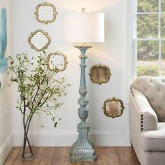 Alana Distressed Blue Floor Lamp   Kirklands